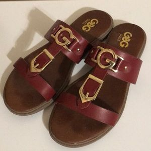 Guess Nazro Red Sandals with gold logo buckle